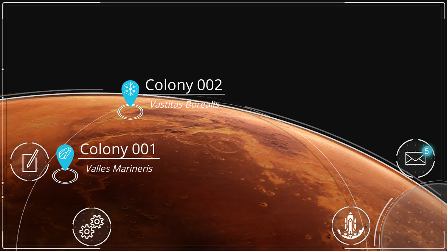 Screenshot of the Colony view mode where you may establish more than one colony.