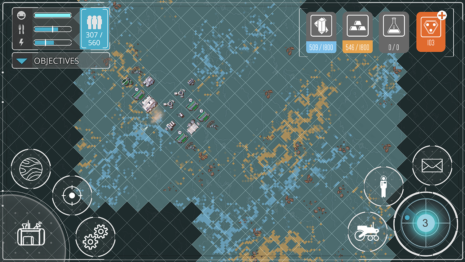 Screenshot of satellite view in the game which allows users to expand the reach of their colony.