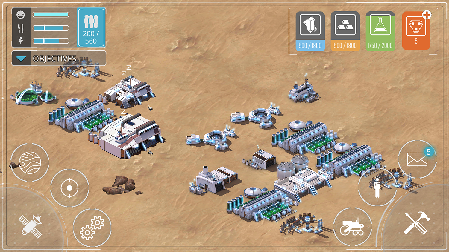 Screenshot of Mars Colony buildings.