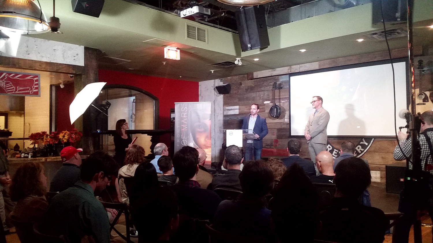 Dan Stopnicki answering questions at the Dawn Of Mars launch event in Ottawa.