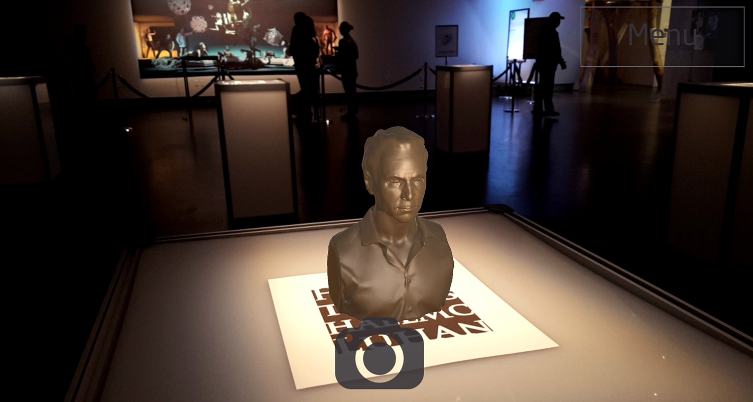 Toronto's own Marshall McLuhan in AR-bust form.